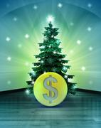 Heavenly space with dollar coin under glittering xmas tree illustration Stock Illustration