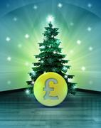 Heavenly space with pound coin under glittering xmas tree illustration Stock Illustration