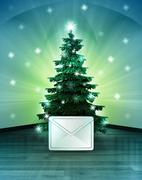 Stock Illustration of heavenly space with winter message under glittering xmas tree illustration