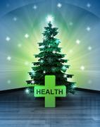 heavenly space with health cross under glittering xmas tree illustration - stock illustration