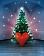 Heavenly space with love happiness under glittering xmas tree illustration Stock Illustration