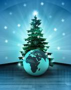 Heavenly space with africa world globe under glittering xmas tree illustratio Stock Illustration
