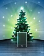 Heavenly space with new smart phone under glittering xmas tree illustration Stock Illustration