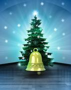 heavenly space with golden bell under glittering xmas tree illustration - stock illustration