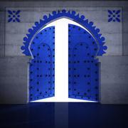Stock Illustration of islamic blue decorated door opening illustration