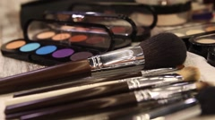 Brushes and Powders for perfect make-up Stock Footage