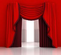 opened red curtain with white background illustration - stock illustration