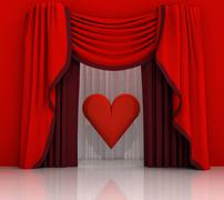 Red curtain scene with red heart illustration Stock Illustration