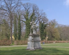 Equestrian statue of Frederick the Great + pan Orangery Palace on the Klausberg Stock Footage