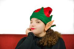 girl in christmas mood - stock photo