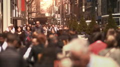 Lots of people walking on  a crowded sidewalk in Manhattan. New York, USA. Stock Footage