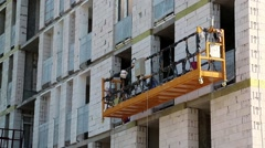 Electric winch on the building under construction Stock Footage