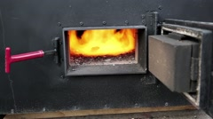 Fire burning in the furnace Stock Footage