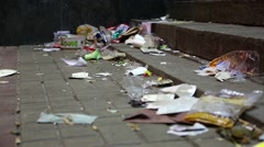 Garbage lying on the street Stock Footage