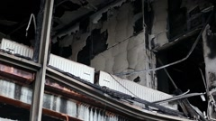 Burnt building of trade union on the Khreshchatyk street in Kiev, Ukraine Stock Footage