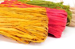 Stock Photo of natural raffia of different colors