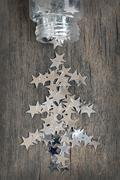 Silver stars for christmas Stock Photos