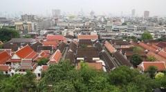 Panorama of Bangkok downtown. View from Golden Mountain, Wat Saket Stock Footage