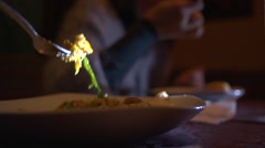 Close-up of eating a food in restaurant Stock Footage