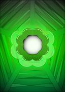 Stock Illustration of green geometrical web with blank blossom vector illustration