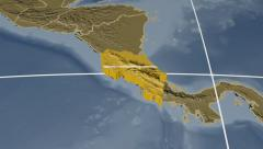 Costa Rica extruded. Bumps. Graticule. Stock Footage
