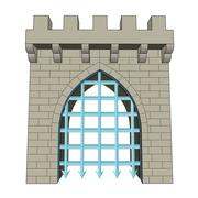 isolated medieval closed gate vector illustration - stock illustration