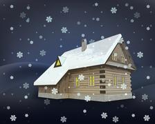 small rural winter wooden cottage at night snowfall vector illustration - stock illustration
