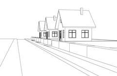 City street development vector perspective sketch llustration Piirros