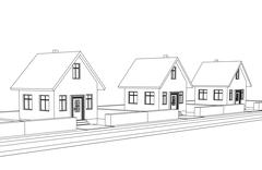 City street development vector sketch llustration Stock Illustration