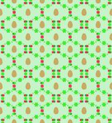Egg and green red blossom web easter pattern vector illustration Stock Illustration
