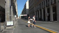 Livorno Italy central city road pedestrians 4K 060 Stock Footage