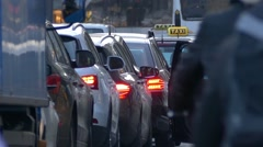Stock Video Footage of 4K FHD European city traffic jam in rushhour congestion