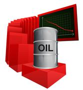 negative business graph of oil goods vector ilustration - stock illustration