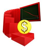 Negative business banking results of dollar vector illustration Stock Illustration