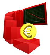 negative business banking results of euro vector illustration - stock illustration
