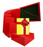 Decreasing level of gift shopping analysis vector illustration Stock Illustration