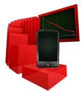 Negative results of smart phone market vector illustration Stock Illustration