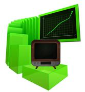 Positive business results of television market vector illustration Stock Illustration