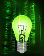 positive growth data with green ideas vector illustration - stock illustration