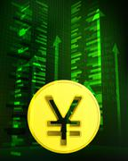 positive growth data with yuan coin vector illustration - stock illustration
