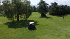 Aerial - Flight over the buggy and a walking player above the golf course Stock Footage