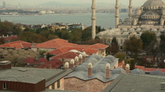 Blue Mosque in Istanbul at Sunset, Panoramic View Stock Footage