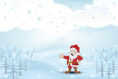 winter cold landscape with trees and santa claus at snowfall vector illustration - stock illustration