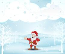 winter landscape with trees and santa claus at snowfall vector illustration - stock illustration