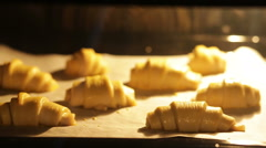 Baking croissants Stock Footage