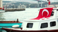 Little Boats with Turkish Flag in Istanbul Stock Footage
