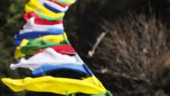 Tibetan Prayer Flags Fluttering in the Wind, Everest Base Camp Trek, Nepal Stock Footage