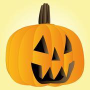 vector orange pumpkin halloween face illustration - stock illustration