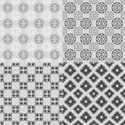Series of four lace patters in black and white illustration Stock Illustration