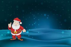 santa claus standing at winter landscape snowfall vector illustration - stock illustration